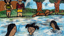 art, nn, girls at river, by 15 year old, N'zerecore, Guinea, image copy