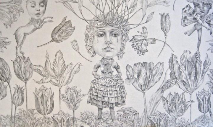 lori field, tulipmania, crop, silverpoint