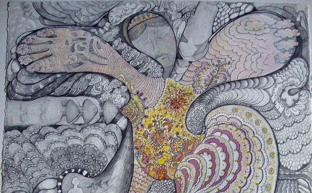 art, Carol Kaufmann, Goddess in Landscape w love_pencil,gouche,coloredpencil, 30x22 (611x800) copy for crop