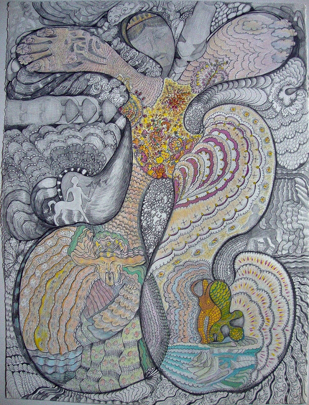 Goddess in Landscape w love, pencil, gouche, colored pencil, 30x22