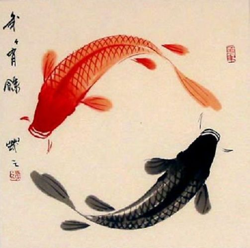 nn, goldfish ying and yang, Japanese watercolor,